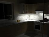 Rohová linka s pultem- vizualizace osvětlení pod linkou
