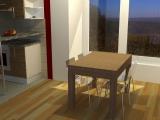 Stůl z masivu (jilm) rozkládací - složený