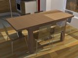 Stůl z masivu (jilm) rozkládací - rozložený