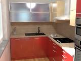Návrh kuchyňské linky - kombinace červeno-písková